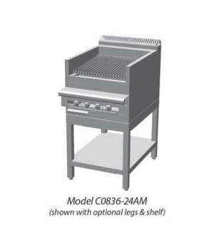 "Cuisine Series Heavy Duty Range, gas, 24"", Charbroiler, cast-iron radiants, fixe"