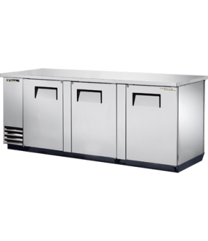 "Pass Thru Back Bar Cooler, three-section, 37"" high, (152) 6-packs or (4) keg cap"