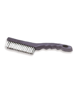 Wire Brush, short plastic handle, stainless steel bristles, gray