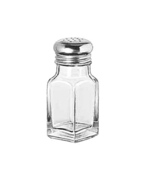 "Salt/Pepper Shaker, 2 oz., square, glass, stainless steel top (H 4-1/8""; T 1-1/2"