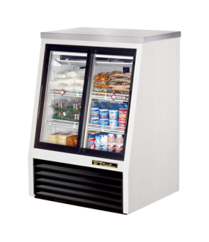 Single Duty Deli Case, pass-thru, stainless steel top, (2) Low-E glass doors fro
