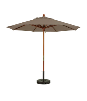 "Market Umbrella, 7 ft, 1-1/2"" wooden pole, Outdura fabric, taupe"