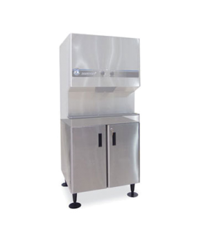 Equipment Stand, for icemaker/dispensers, cabinet base with locking doors, stain