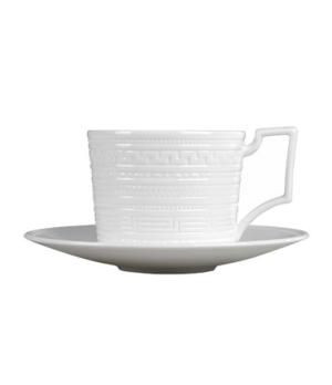 Intaglio Tea Cup, dishwasher safe, bone china, white