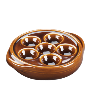 "Escargot Plate, 5-1/4"" dia. x 1-1/2"", 6 hole, stoneware, brown"
