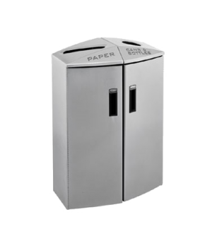 Element Trash/Cans & Bottles Recycling Container, 2 stream, 24 gallons, non-lock