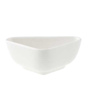 "Bowl, 4-3/8"" x 2-3/4"", 3 oz., deep, triangle, premium porcelain, Pi Carre"