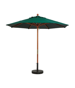 "Market Umbrella, 9 ft, 1-1/2"" wooden pole, Outdura fabric, forest green"