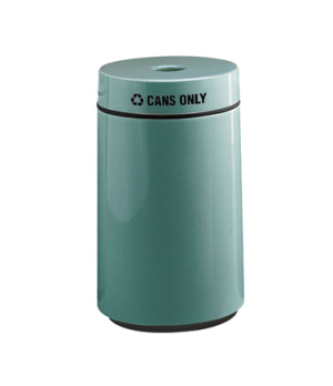 "Can Recycling Receptacle, 15 gallon, 16"" diameter, 28"" high, fiberglass, retaine"