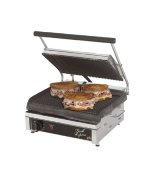 "Grill Express™ Two-Sided Grill, electric, 14""w fixed lower grill, hinged upper g"