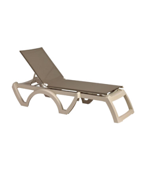 Calypso chaise, stackable, without arms, adjustable sling, sandstone frame, powe