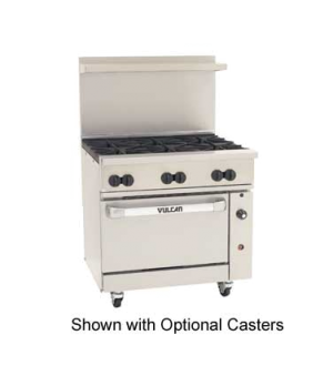 "Endurance™ Restaurant Range, 36"", (6) 30,000 BTU burners with lift-off burner he"