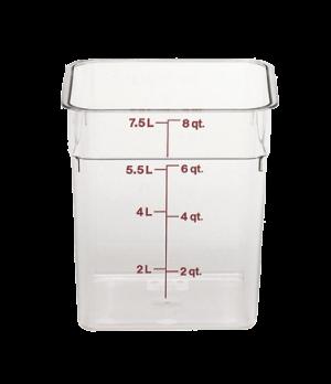 CamSquare® Food Container, 8 quart, 8-3/8 x 8-3/8 x 9-1/8, clear, orange graduat