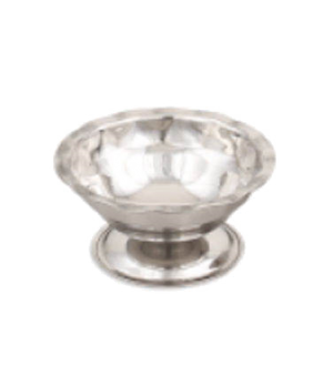"Sherbet/Sundae Dish, 5 oz., 4-1/4"" dia., gadroon base, stainless steel, mirror f"