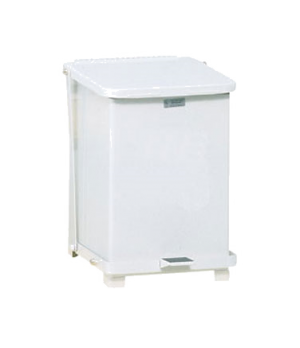 """The Defenders® Step Can, 12"""" sq x 17"""" H, 7 gallon capacity, plastic liner, white"""