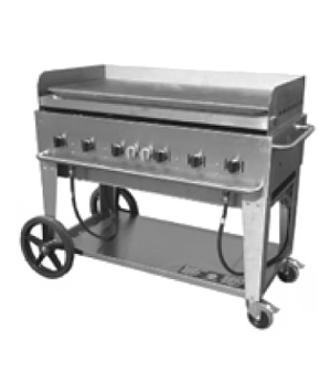 "Outdoor Griddle, mobile, LP gas, 6 burners, 56""L x 28""W, stainless steel  constr"