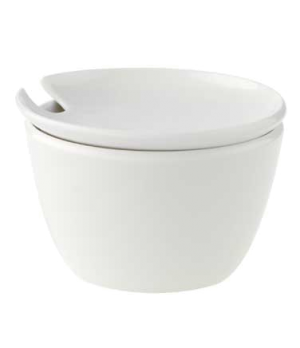 Sugar Bowl, 12 oz., with cover, premium porcelain, Flow