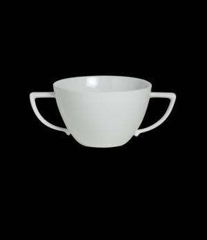 "Bouillon Cup, 12 oz., 6-5/8""W x 2-3/4""H, handled, porcelain, Sonata, Rene Ozorio"