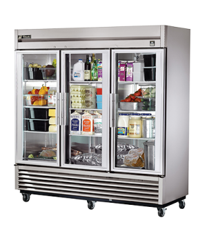 Refrigerator, Reach-in, three-section, (3) glass doors, stainless steel front/si