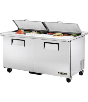 """Dual Side Sandwich/Salad Unit, (16) 1/6 size (4""""D) poly pans, (2) stainless stee"""