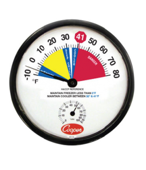 "Freezer/Cooler Thermometer, 12"" (30.5cm) dia. dial, temperature range -10° to 80"