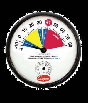 "Freezer/Cooler Thermometer, 12"" (30.5cm) dia. dial, temperature range -10° to 80"