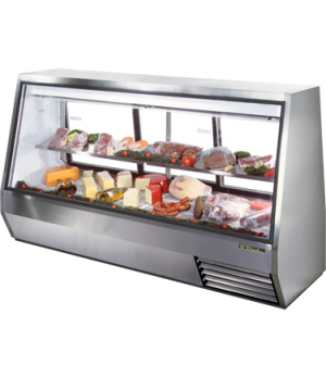 Double Duty Deli Case, see-thru, Low-E glass front & (3) rear doors, white alumi