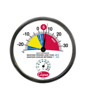 "Freezer/Cooler Thermometer, 12"" (30.5cm) dia. dial, temperature range -25° to 35"