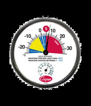 "Freezer/Cooler Thermometer, 12"" (30.5cm) dia. dial, temperature range -25° to 35"