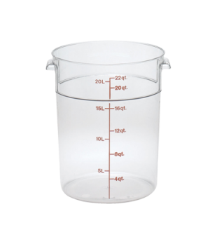 "Storage Container, round, 22 qt., 13-1/2"" dia. x 15""H, natural white, polyethyle"