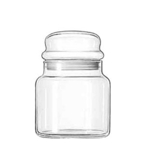 "Storage Jar #16, 22 oz., 5-1/2"" high, glass, (H 5-1/2""; T 3-1/8""; B 4""; D 4"")"