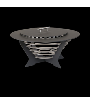 "Chafing Dish, 24"" dia., round, black with silver steps, Brand Designs, Canyons ("