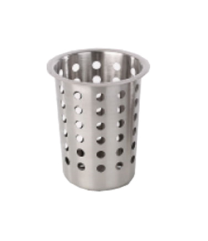 "Cutlery Cylinder, 3-3/4"" dia. x 5-1/2""H, perforated, stainless steel"