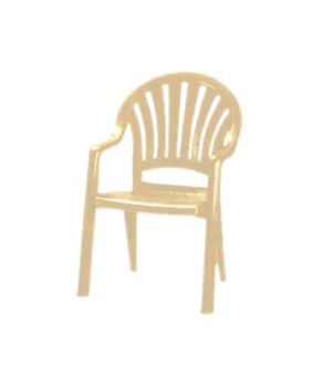 Pacific Fanback Stacking Armchair, designed for outdoor use, one-piece molded UV