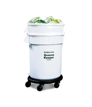 "BRUTE® GreensKeeper® Container, with lid, 32 gallon, 25""D x 38-1/2""H, with dolly"