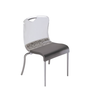 Krystal Stacking Side Chair, crystal clear polymer seat & back, with hand hold,