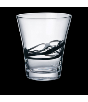 "Lui Glass, 13 oz., 3-1/4"" x 4-1/2"", hand-made, black, Bormioli, Ceralacca (USA s"
