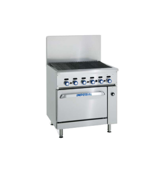 "Restaurant Series Range Match, gas, 24"", charbroiler, cast-iron radiants & top g"