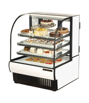 """Curved Glass Refrigerated Bakery Case, 36-7/8""""L, tilting glass front, glass rear"""