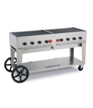 "Outdoor Charbroiler, LP gas, 58"" x21"" grill area, 8 burners, 304 stainless steel"